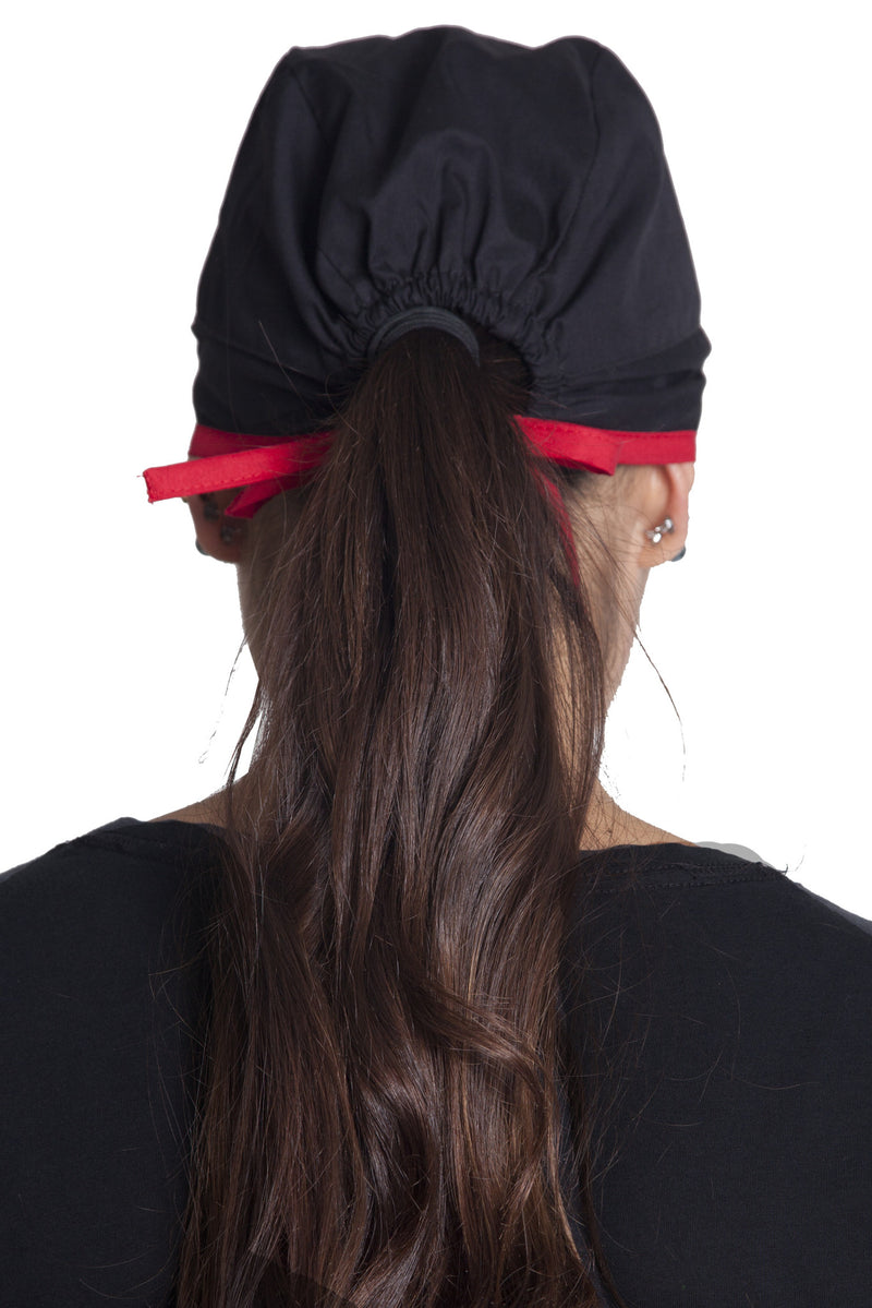 Fiumara Apparel Fitted Surgical Cap with Ties Back Black with Red Ties