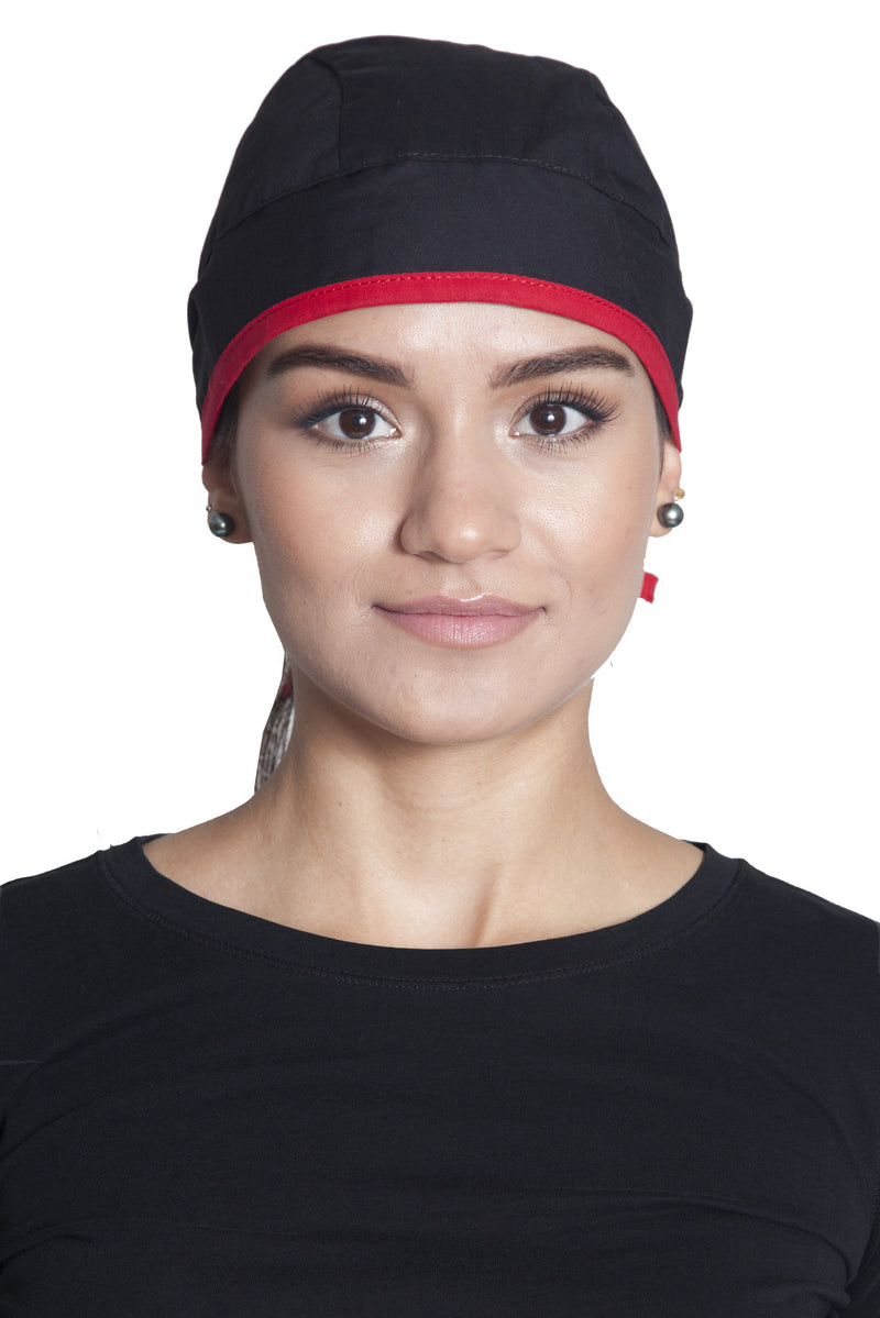 Fiumara Apparel Fitted Surgical Cap with Ties Front Black with Red Ties