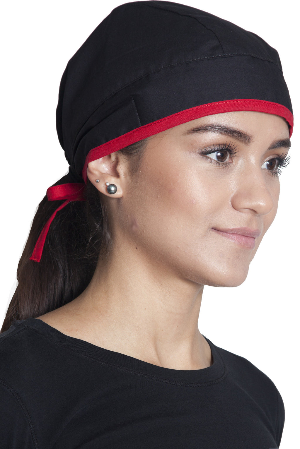 Fiumara Apparel Fitted Surgical Cap with Ties Main Black with Red Ties