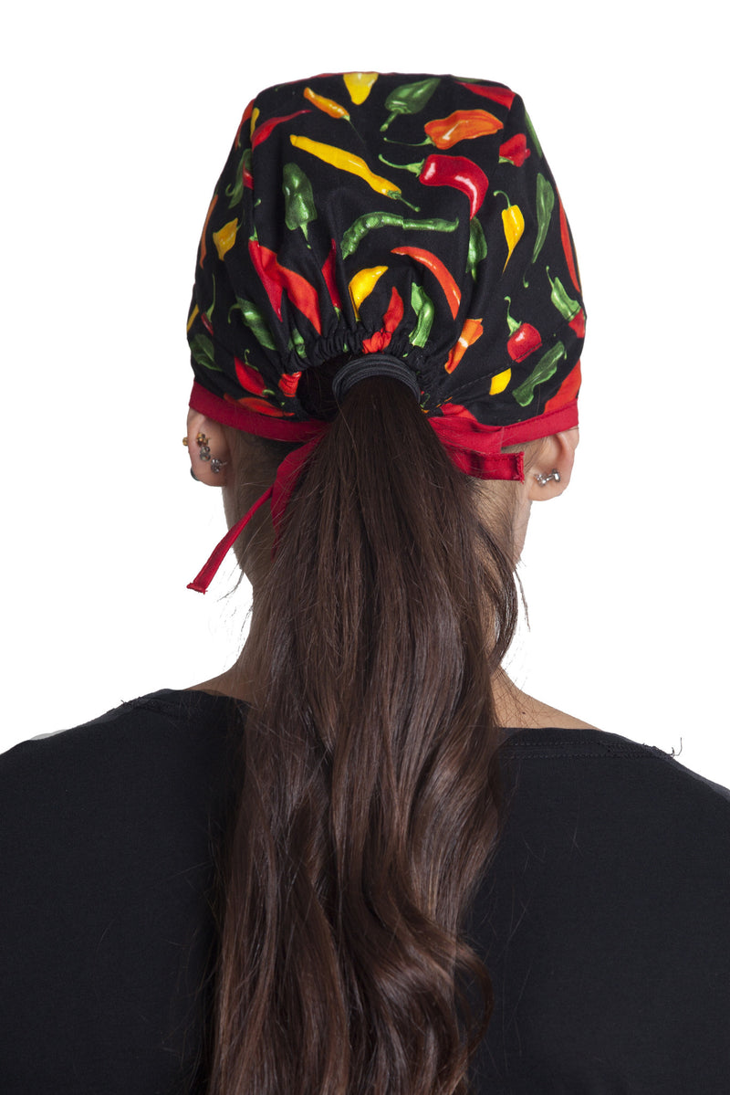 Fiumara Apparel Fitted Surgical Cap Chili Peppers Back with Ties
