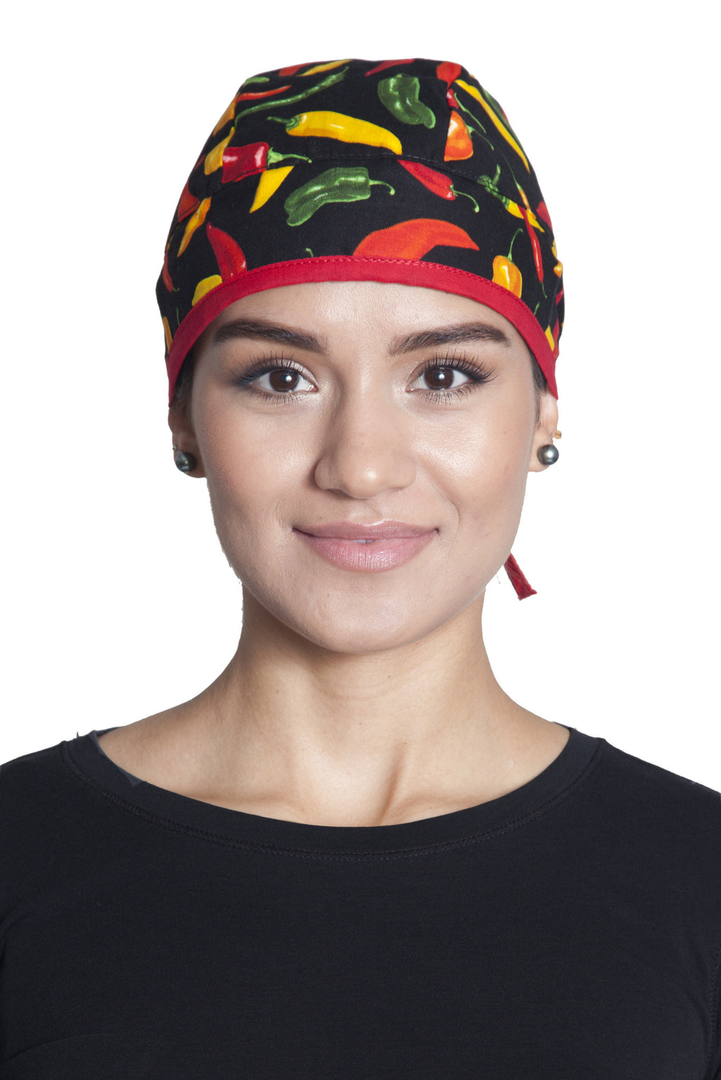 Fiumara Apparel Fitted Surgical Cap Chili Peppers Front with Ties