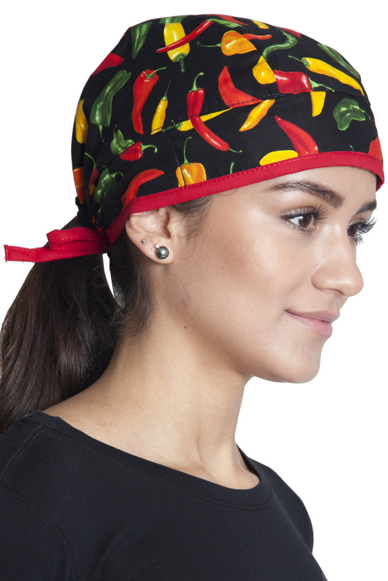 Fiumara Apparel Fitted Surgical Cap Chili Peppers with Ties