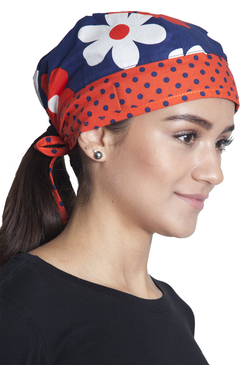 Fiumara Apparel Fitted Surgical Cap with Ties Flowers