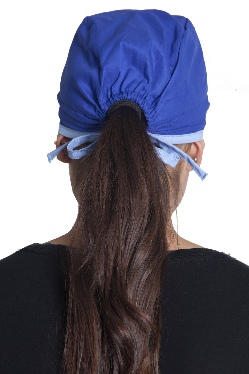 Fiumara Apparel Fitted Surgical Cap Royal Blue with Sky Blue Ties Back
