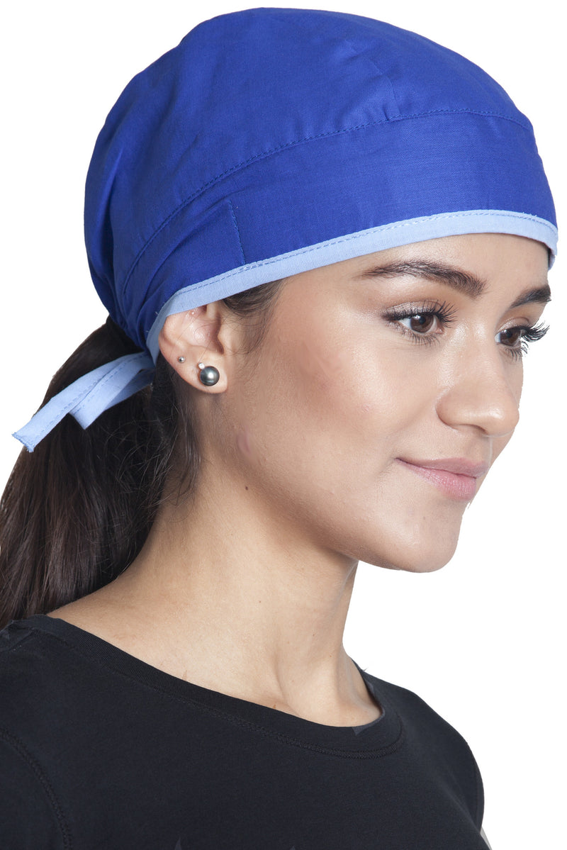 Fiumara Apparel Fitted Surgical Cap Royal Blue with Sky Blue Ties Main