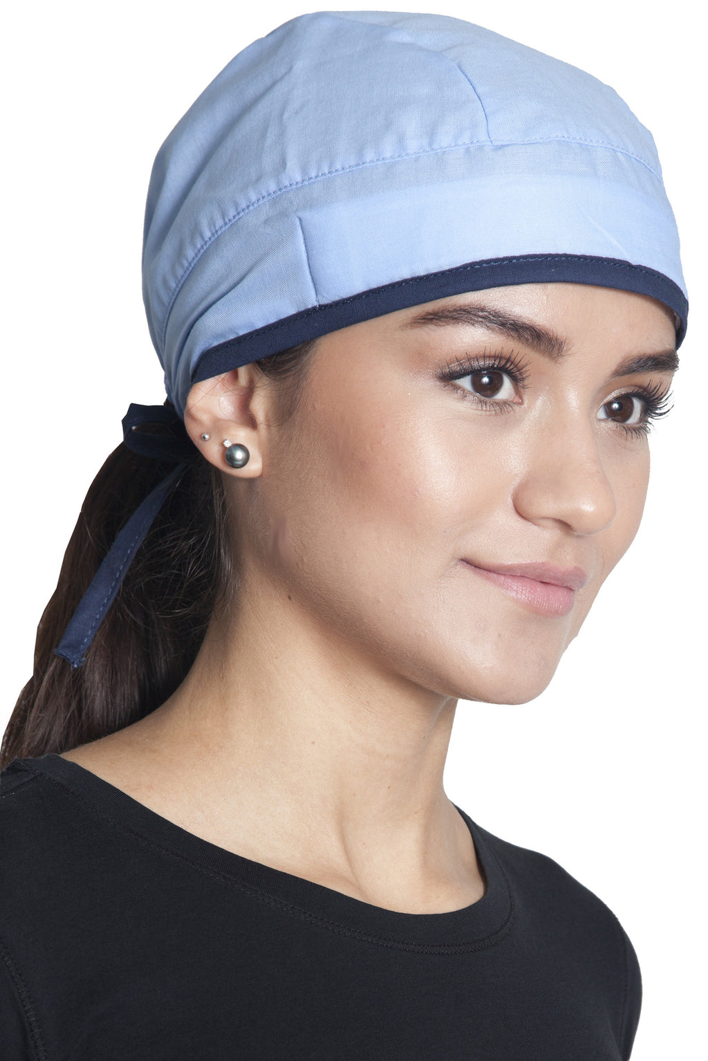 Fiumara Apparel Fitted Surgical Cap Sky Blue with Navy Ties Main