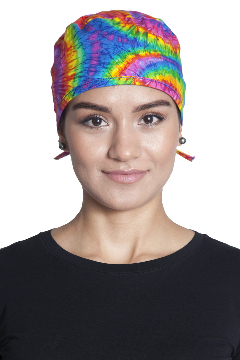Fiumara Apparel Fitted Surgical Cap Tie Dye with Ties Front