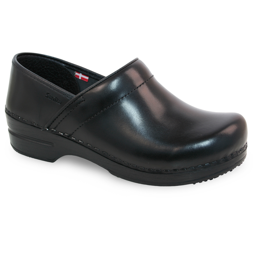 Sanita Addison Women's Cabrio Black Nursing Medical Clog - side view