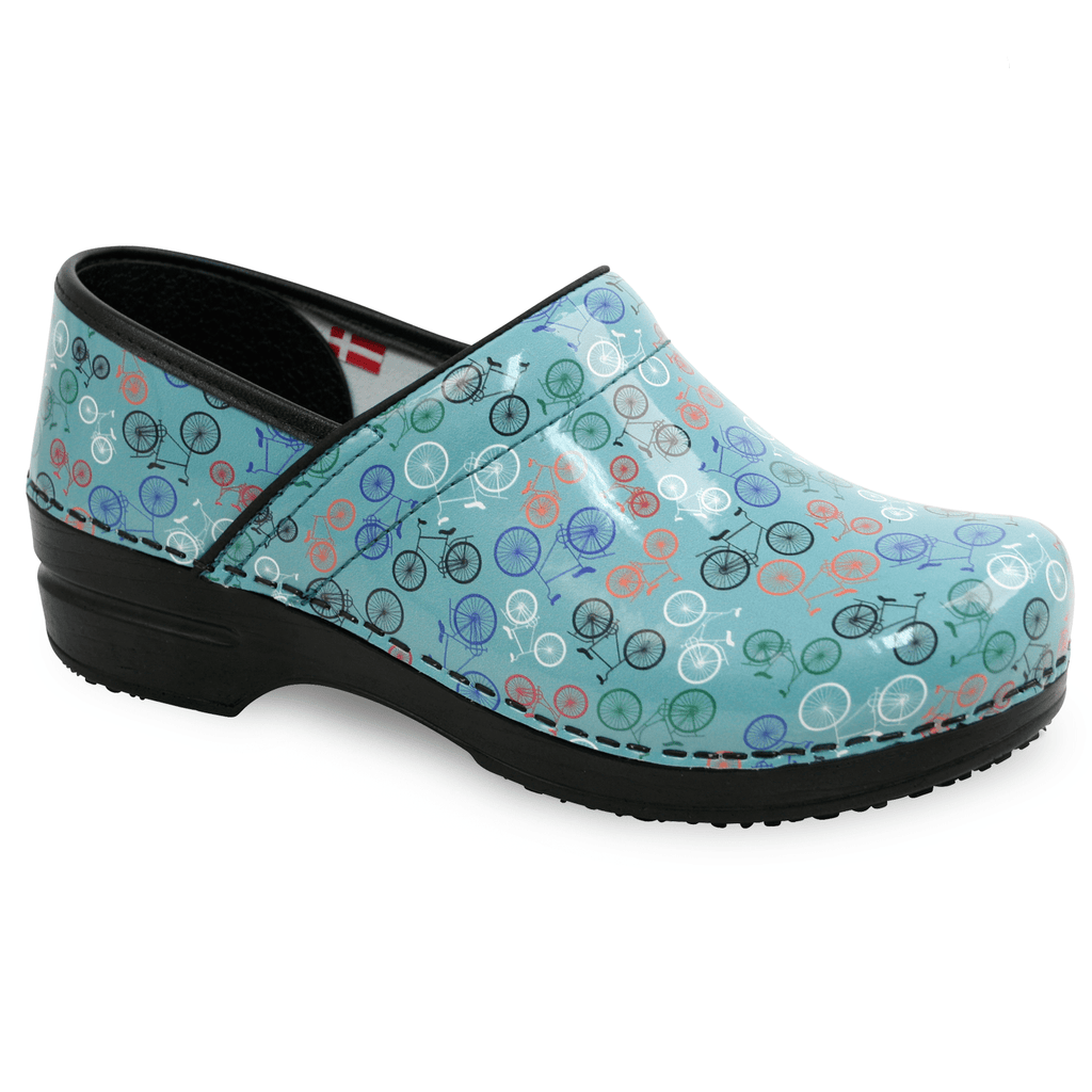 Sanita Auburn Women's Bicycle Print Patent Leather Teal Medical Clog - side view