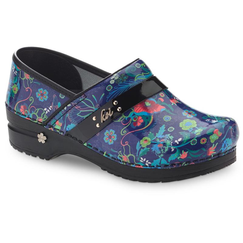 Sanita Secret Garden Women's Patent Leather Multi Medical Clog -  side view