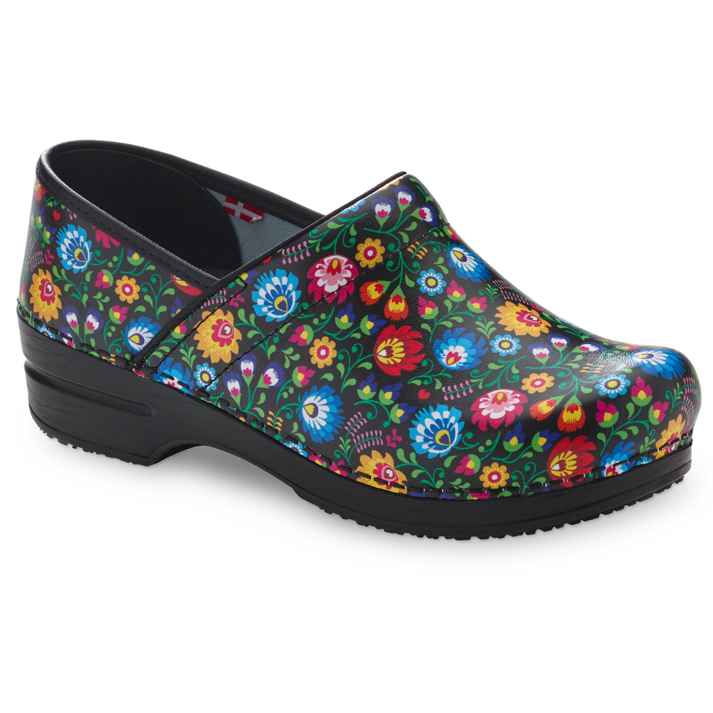 Sanita Derry Women's Flower Garden Print Medical Clog - side view