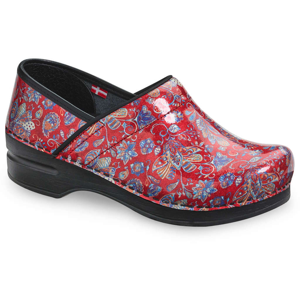 Sanita Jaclyn Women's Patent Leather Red Medical Clog - side view