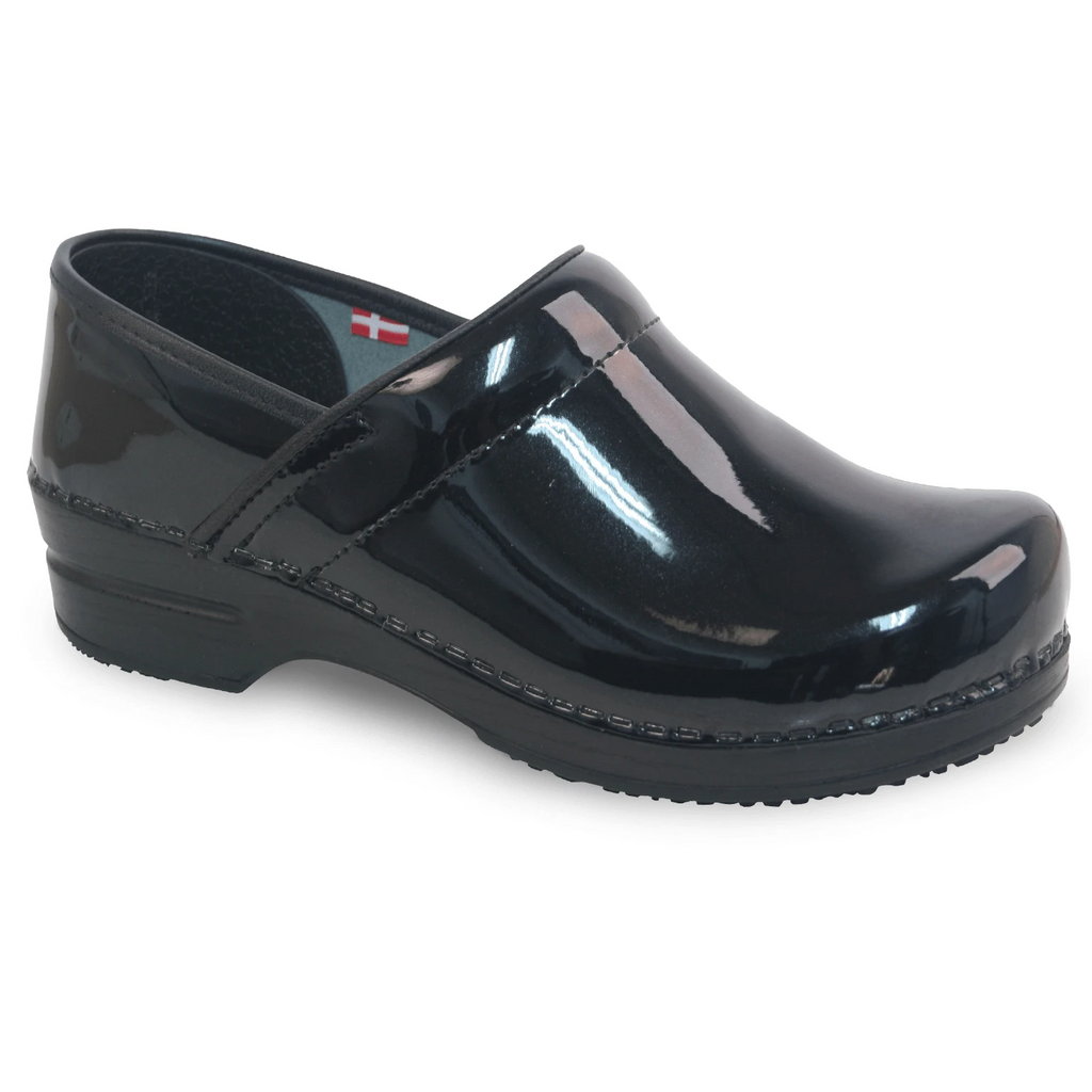 Sanita Sabel Women's Black Blue Medical Clog - side view
