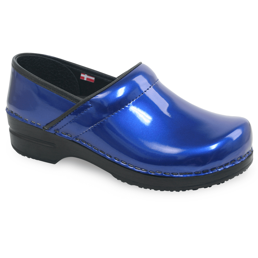 Sanita Sabel Women's Black Blue Medical Clog - side view blue