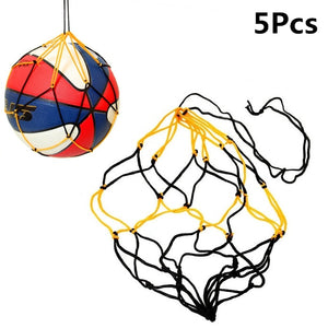 5pcs/Set Nylon Portable Net Bag Ball Carrying Mesh Net Bag Basketball Soccer Ball Net Bag for Team Training Football Accessories