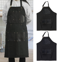 Load image into Gallery viewer, Handmade Adjustable Tattoo Apron High Quality Denim Jean Tattoo Working Apron with Neck Straps Tools Pockets