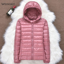 Load image into Gallery viewer, Winter Women Ultralight Thin Down Jacket White Duck Down Hooded Jackets Long Sleeve Warm Coat Parka Female Portable Outwear