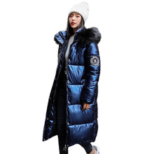 Load image into Gallery viewer, women X-long oversize blue down jackets thick casual with fur epaulet 2020 winter female down coats hooded solid piumini donna