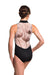 Ainsliewear Zip Front Leotard with Xray Mesh Black - 1062XR
