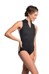 Ainsliewear Zip Front Adult Leotard with Xray Mesh Black - 1062XR