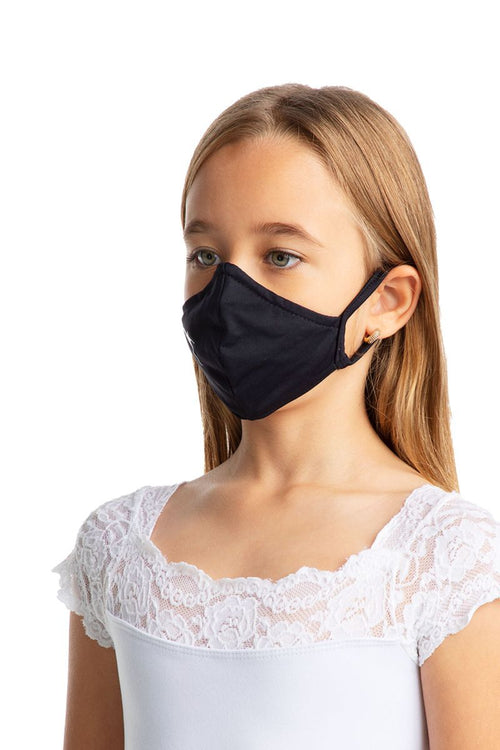 SoDanca Child Fitted Solid Face Mask with Ear Loops - L2171/ Black