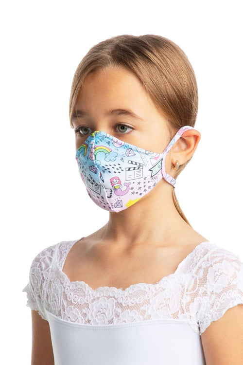 So Danca Child Fitted Print Face Mask with Ear Loops - L2177