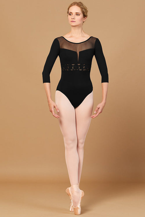Bloch Ladies Jillian Embroidered Waist 3/4 Sleeve Leotard -  L5516