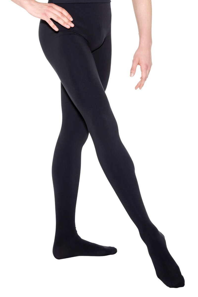 SoDanca Men's Opaque Footed Black Tights - D494