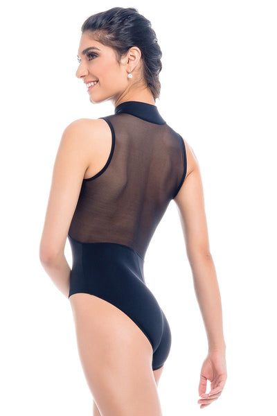 Sodanca Adult Mandarin Collar Leotard with Mesh and Zipper - RDE1809