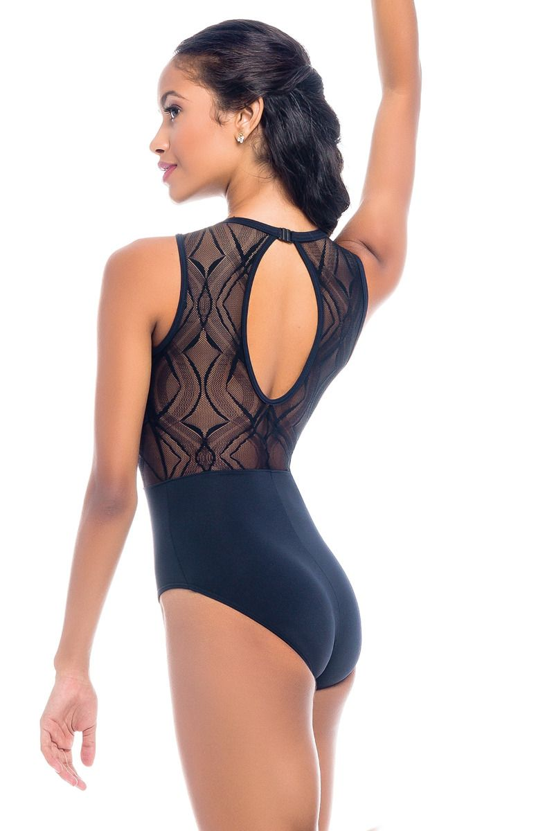 SoDanca Adult Mandarin Collar Mesh Leotard with Clasp Back - RDE1951