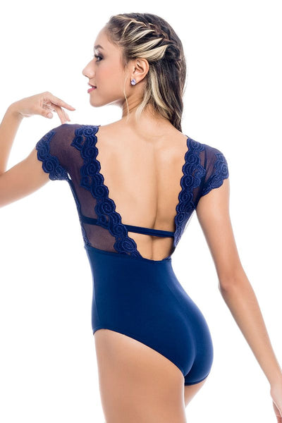 SoDanca Adult V-Neck Cap Sleeve Leotard with Floral Mesh Overlay - RDE1961