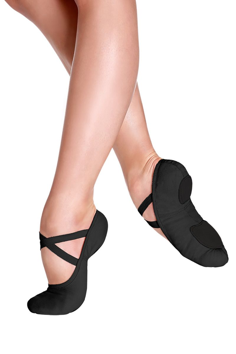 SoDanca Adult Stretch Canvas Split Sole Ballet Slipper - SD16 Black