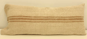 Vintage Caramel stripe Grain Sack Body Pillow 41 x 16