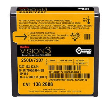250D Color Negative Film VISION3 7207, 16 mm