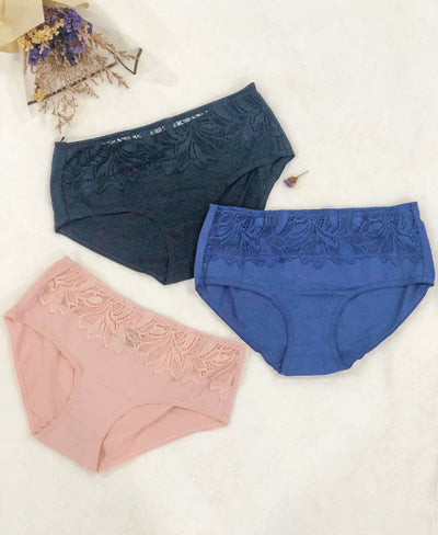 Soft Lace Comfort Cotton Packaging Midi Panties 505-6656
