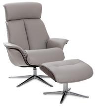 Load image into Gallery viewer, grey leather recliner
