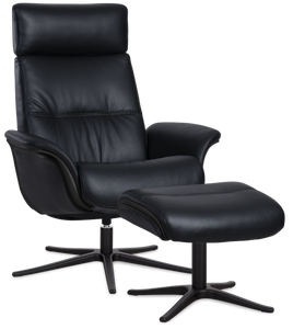 black leather recliner with ottoman