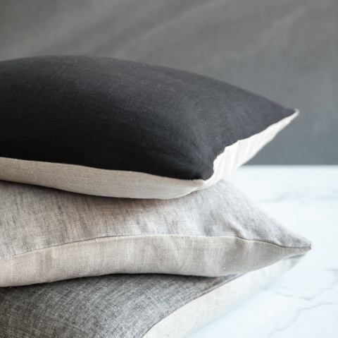 Pillow Cover Toronto 100% Linen Black & Natural 20x20in