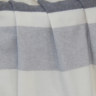 Throw Soho 10% Cashmere 90% Superfine Wool Ivory Charcoal Light Grey Stripes 55x78in