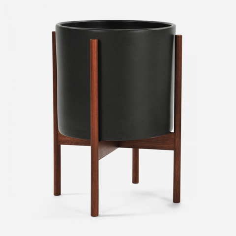 Case Study - Large Cylinder Black w/ Wood Stand
