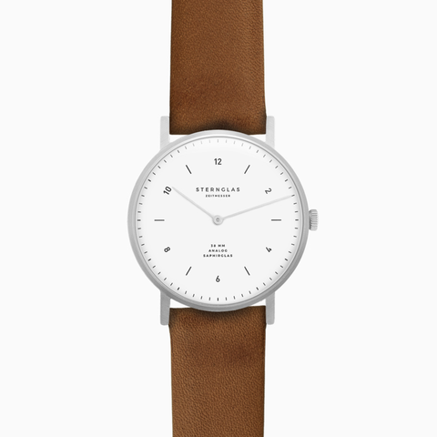 Sternglas JUNIS 38 Watch - White/Premium Brown Leather
