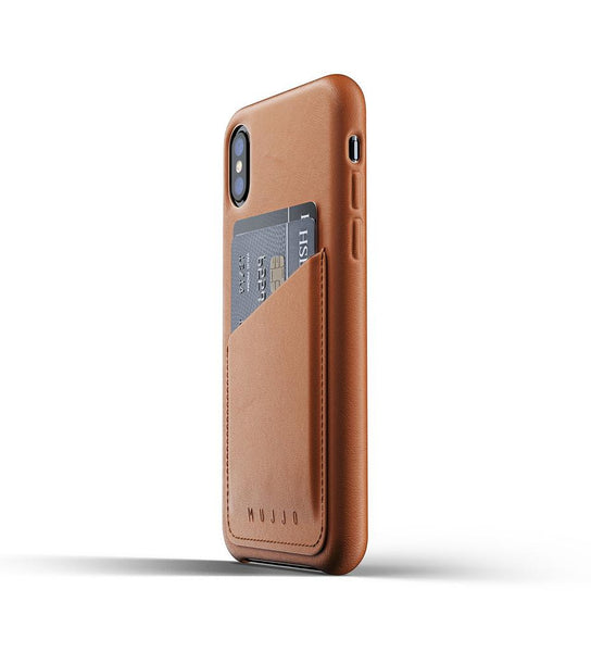 Mujjo - Full Leather Wallet Case for iPhone X/Xs, Tan