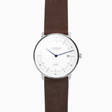 Sternglas NAOS Watch - White/Brown Leather