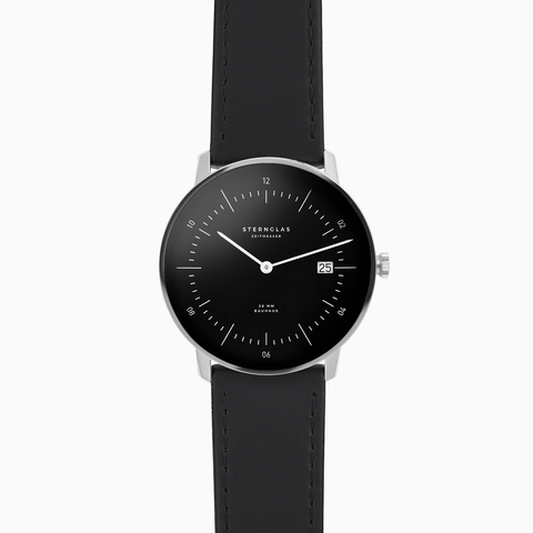 Sternglas NAOS Watch - Black/Black Leather
