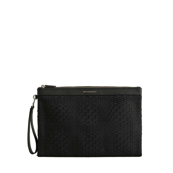 WANT les Essentiels - Barajas Double Zip Folio, (blk basketweave)