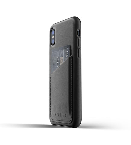 Mujjo - Full Leather Wallet Case for iPhone X/Xs, Black