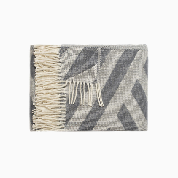 Olimpia Throw 50% Wool 50% Acrylic Grey And Cream Stripes 55x78in