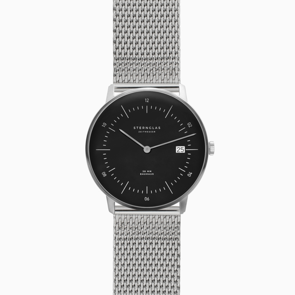 Sternglas NAOS Watch - Black/Milanaise silver