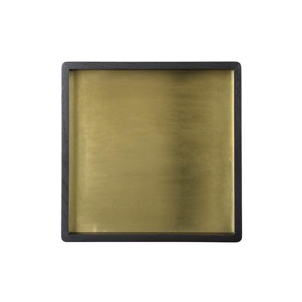 Square Black Oak and Brass Tray