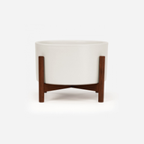 Case Study - Table Top Cylinder White w/ Wood Stand